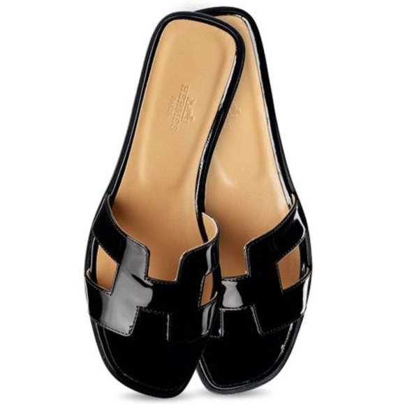 Nwot Hermes Oran Black Patent Leather